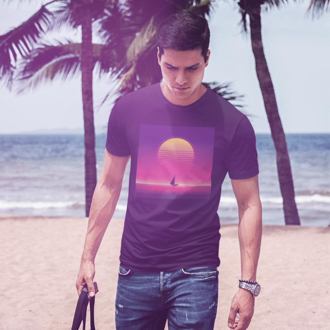 summer neon boat sunset tee