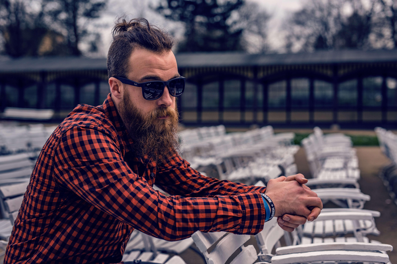 adult-beard-checkered-shirt