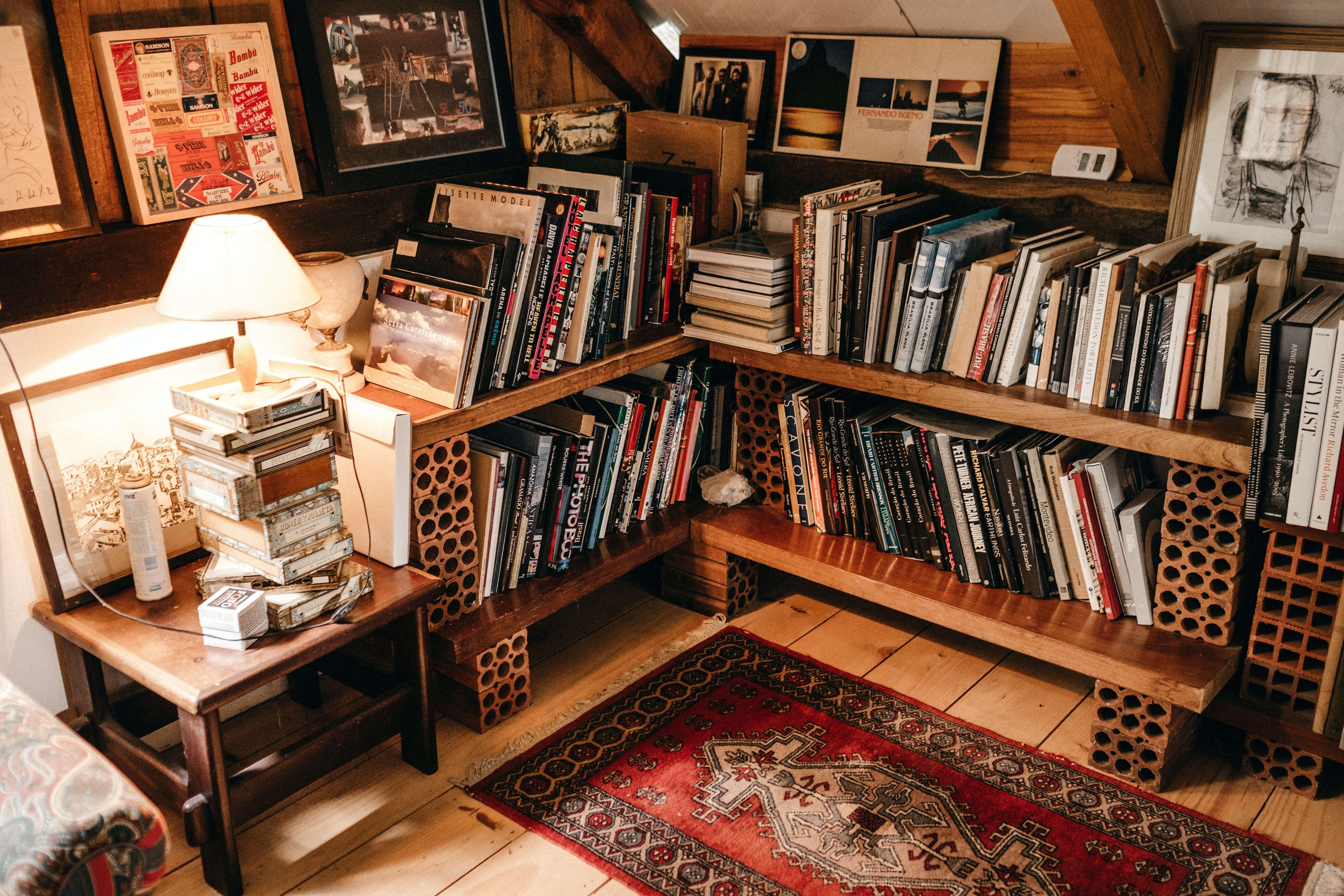 books-on-brown-wooden-shelf