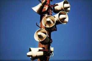Megaphones on a post